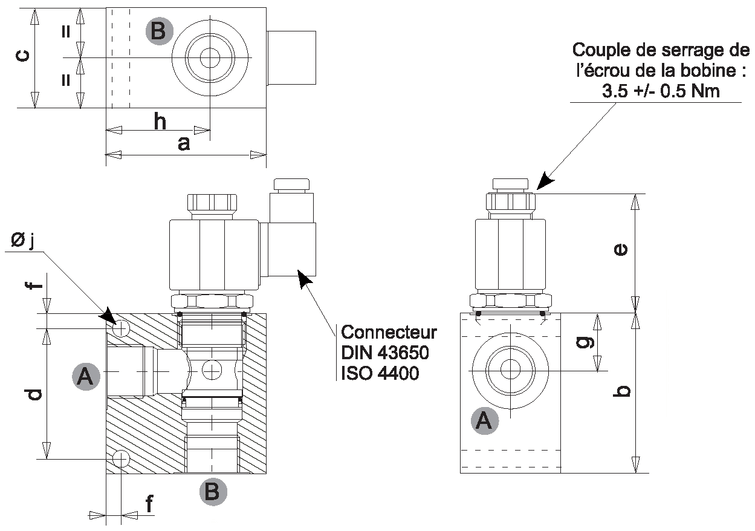 electrovanne hydraulique  u00e0 clapet 2  2 normalement ferm u00e9e 1