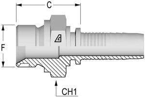 Schéma Nipple simple accroche mâle BSPP