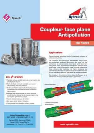 Catalogue coupleurs hydrauliques face plane antipollution