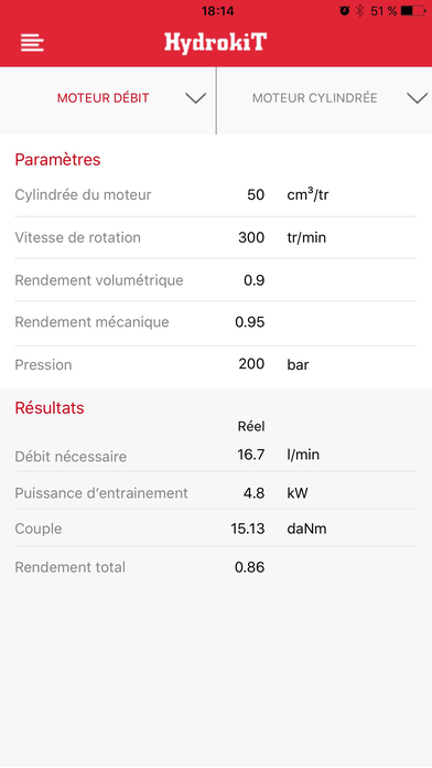 Application smartphone Hydrokit - Vue calcul de débit