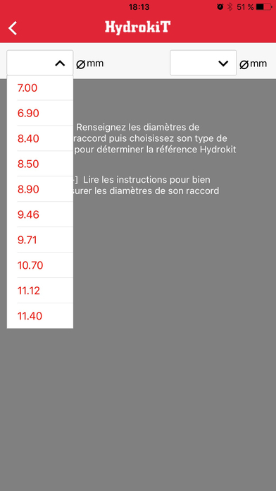 Application smartphone Hydrokit - Choix de sa dimension