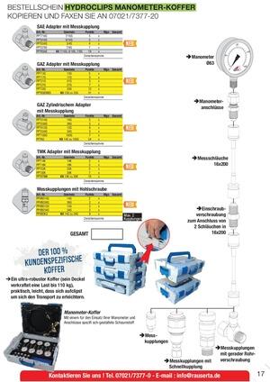 Hydroclips Manometer-Koffer Hydrokit Rau Serta