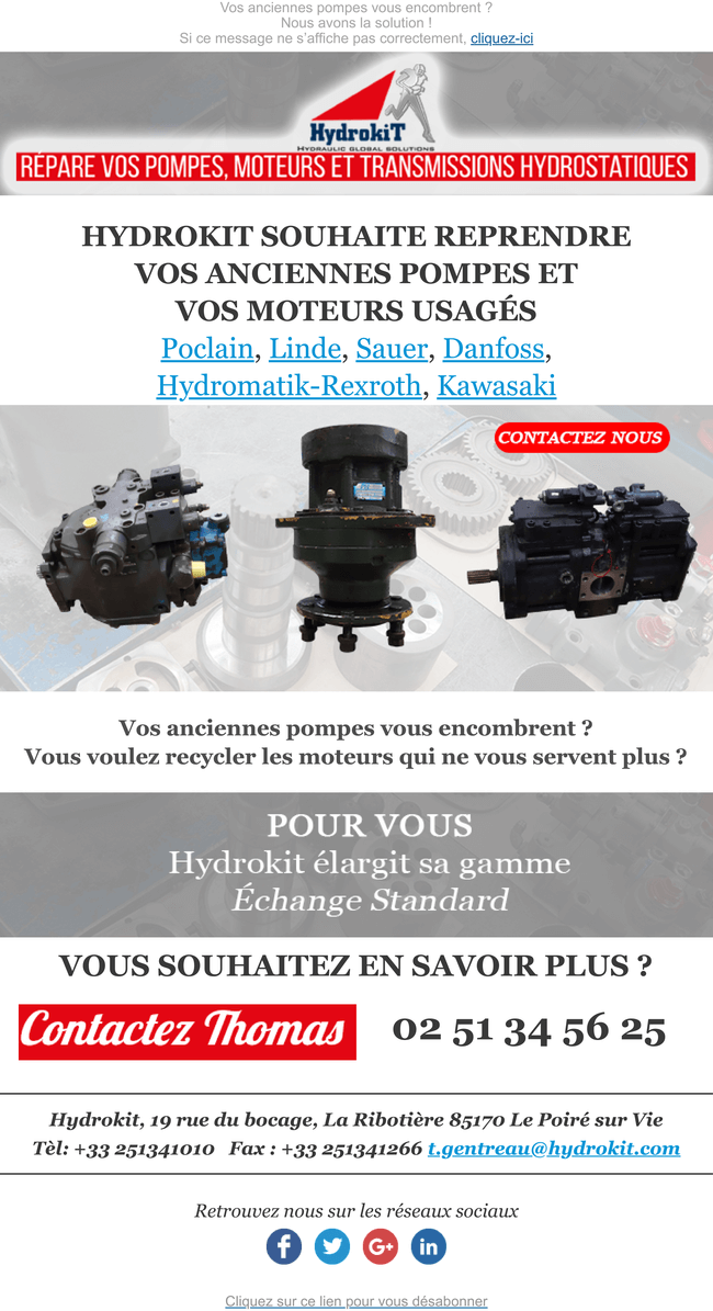Hydrokit reprend vos pompes et moteurs usagés